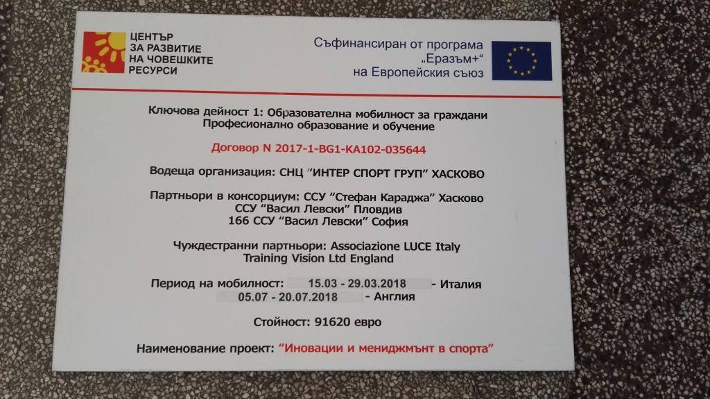 Иновации и мениджмънт в спорта - СУ Васил Левски - Пловдив