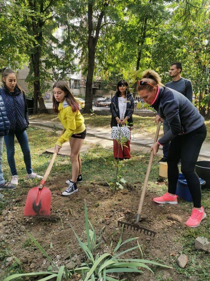 Олимпийски медалисти засадиха туи за 70-ия юбилей на Спортното - СУ Васил Левски - Пловдив